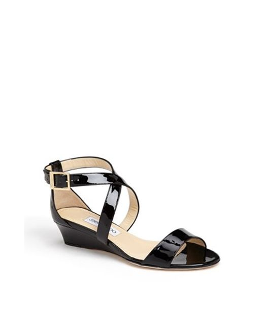 Jimmy Choo | Black 'chiara' Strap Wedge Sandal | Lyst