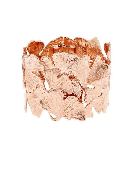 Aurelie Bidermann | Pink Ginkgo Rose-gold Plated Wide Cuff | Lyst