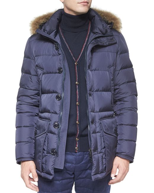 Moncler Cluny Nylon Puffer Jacket With Fur Hood In Blue