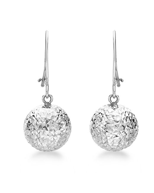 Ib&b   Metallic 9ct White Gold Ball Diamond-cut Drop Earrings   Lyst