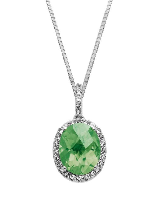 Lord & Taylor | Sterling Silver And Green Amethyst Pendant Necklace | Lyst