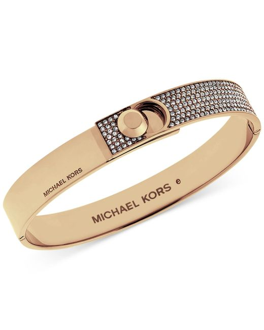 Michael Kors | Metallic Rose-gold Tone Pavé Foldover Bracelet | Lyst