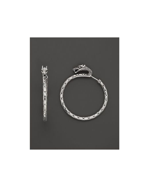 John Hardy | Metallic Naga Silver Medium Hoop Earrings | Lyst