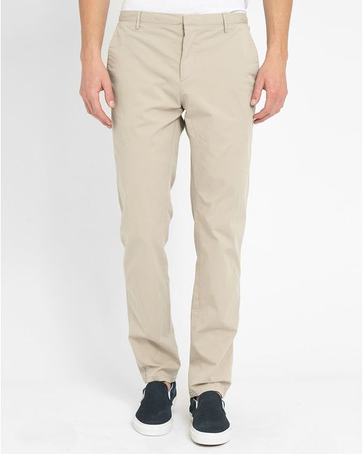 Calvin klein beige cotton stretch slim fit trousers in for Calvin klein slim fit stretch shirt