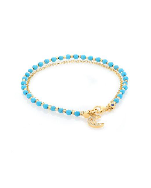 Astley Clarke   Metallic Biography White Sapphire & Turquoise Moon Beaded Friendship Bracelet   Lyst