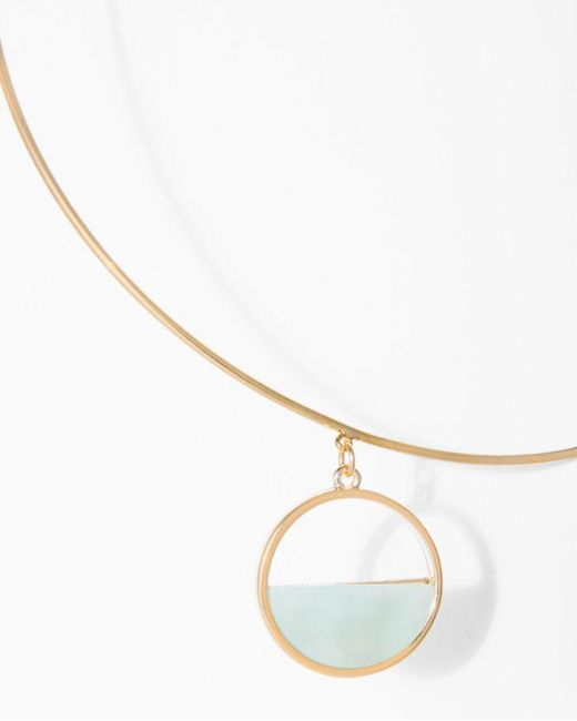 7 For All Mankind - Metallic Semi Circle Choker In Mint And Gold - Lyst