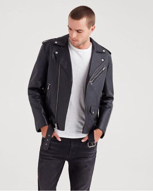 7 For All Mankind - Leather Biker Jacket In Black for Men - Lyst