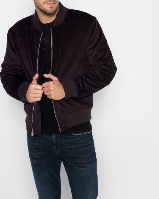 7 For All Mankind - Black Micro Cord Bomber In Port Wine for Men - Lyst