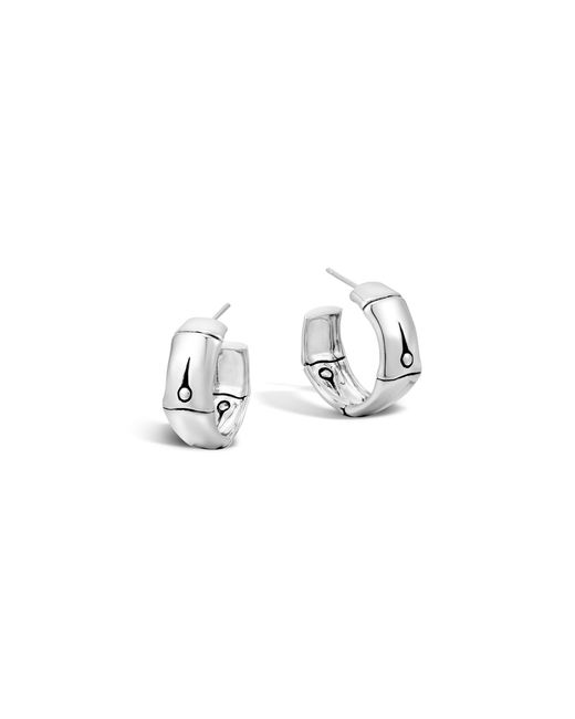 John Hardy | Metallic Bamboo Silver Medium Hoop Earrings | Lyst