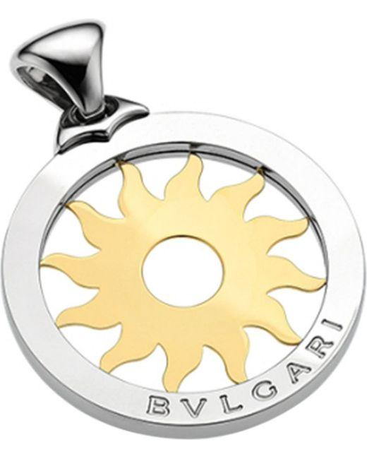 BVLGARI | Metallic Tondo 18Ct Yellow-Gold And Steel Sun Pendant - For Women | Lyst