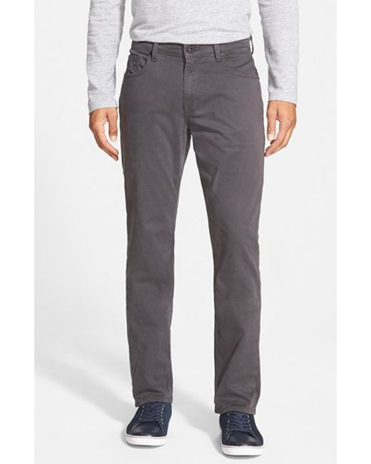 PAIGE | Gray 'normandie' Slim Straight Leg Twill Pants for Men | Lyst