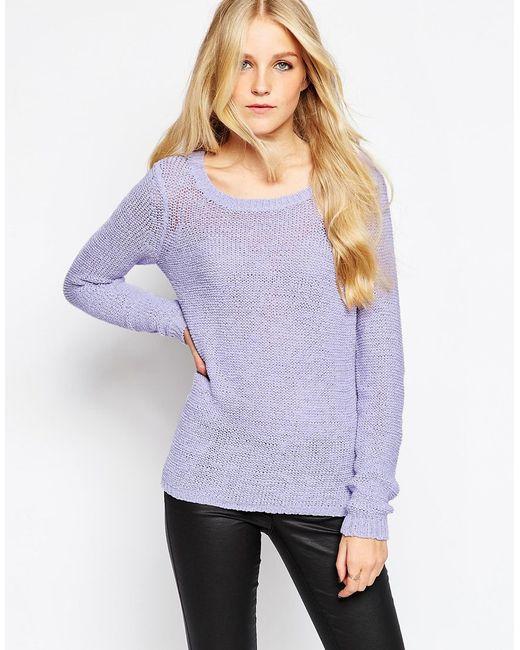 Vero Moda Knitting Patterns : Vero moda fine knit jumper in purple save lyst