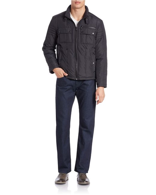 Kenneth Cole | Black Quilted Zip-front Jacket for Men | Lyst