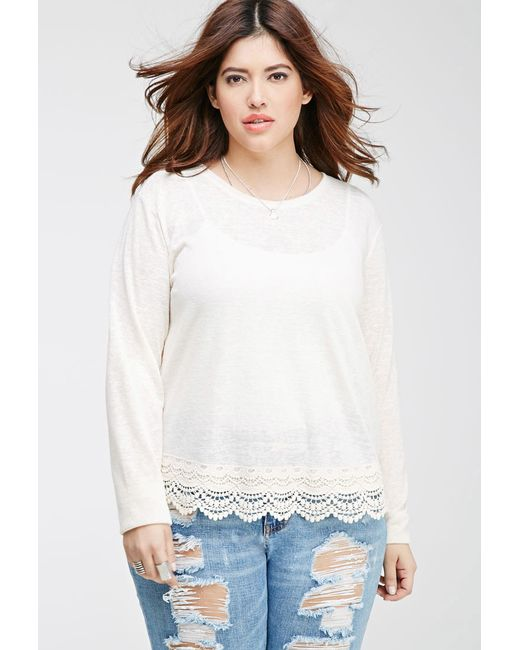 Forever 21   Natural Plus Size Crochet-trimmed Slub Knit Top   Lyst