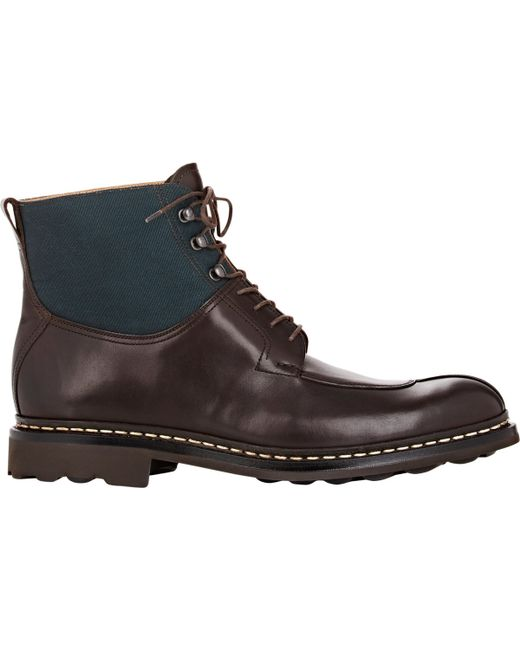 heschung s leather canvas ginko boots in brown for