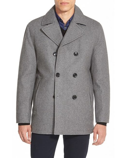 Michael Kors | Gray Wool Blend Double Breasted Peacoat for Men | Lyst