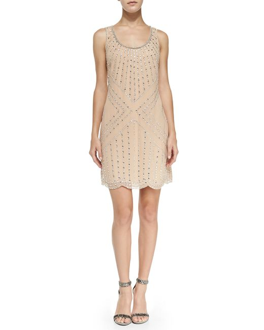 Phoebe Couture | Gold Beaded Pattern Shift Cocktail Dress | Lyst