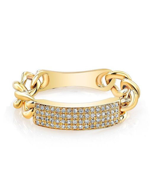 Anne Sisteron | Metallic 14kt Yellow Gold Diamond Id Tag Ring | Lyst
