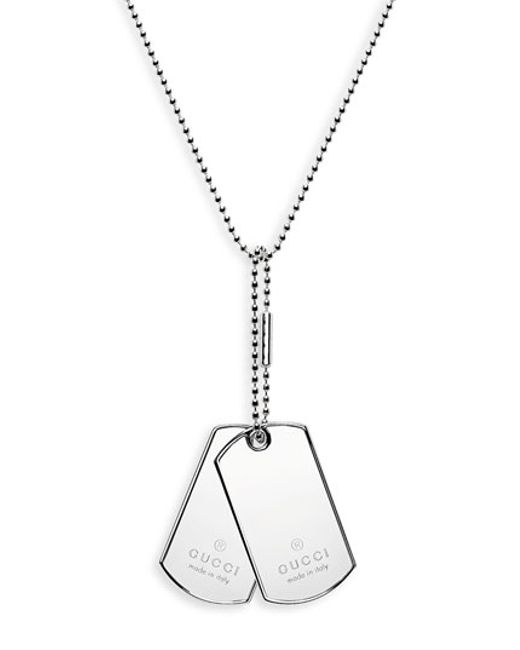 Gucci | Metallic Silver Dog Tag Necklace for Men | Lyst