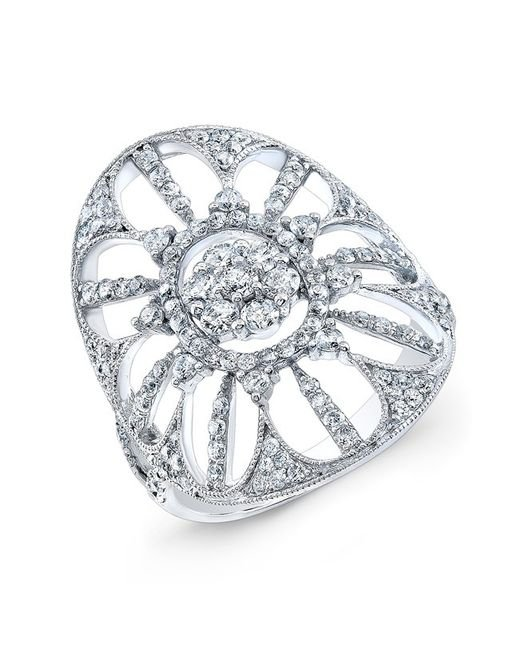 Anne Sisteron - Metallic 18kt White Gold Diamond Shield Ring - Lyst