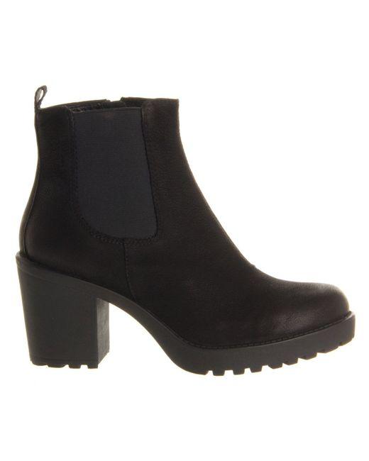 Vagabond Grace Heeled Chelsea Boot In Black