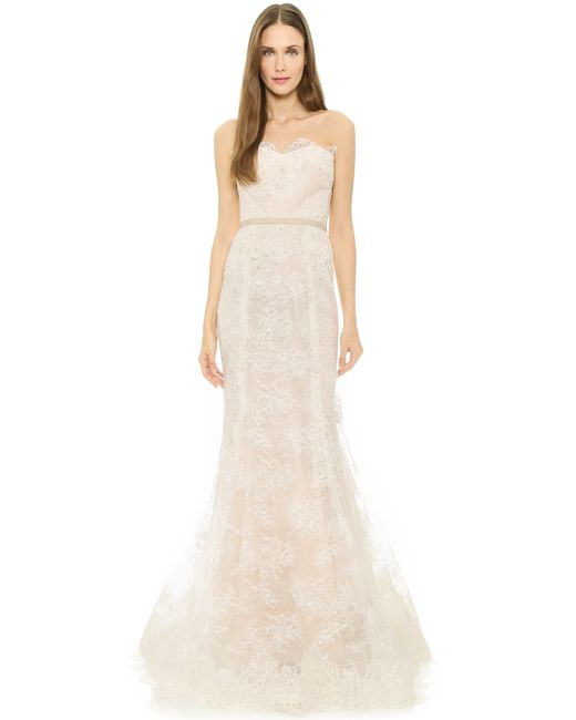 Reem Acra | Natural I'm Beautiful Strapless Lace Gown  | Lyst
