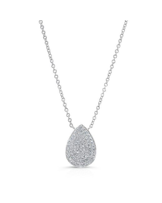 Anne Sisteron - Metallic 14kt White Gold Diamond Medium Pear Shaped Necklace - Lyst