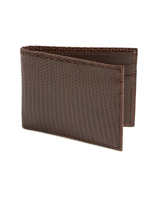 Boconi | Brown Lizard Slimfold Wallet for Men | Lyst