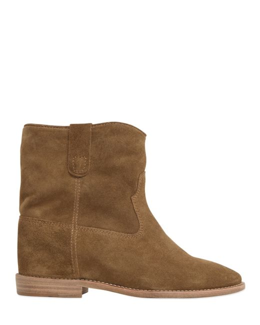 marant etoile 70mm crisi suede ankle boots in brown