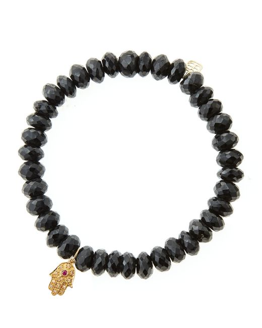 Sydney Evan | Black Spinel Rondelle Beaded Bracelet With 14K Gold Hamsa Charm (Made To Order) | Lyst