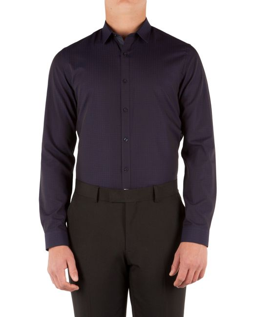 limehaus jacquard slim fit long sleeve shirt in blue for. Black Bedroom Furniture Sets. Home Design Ideas