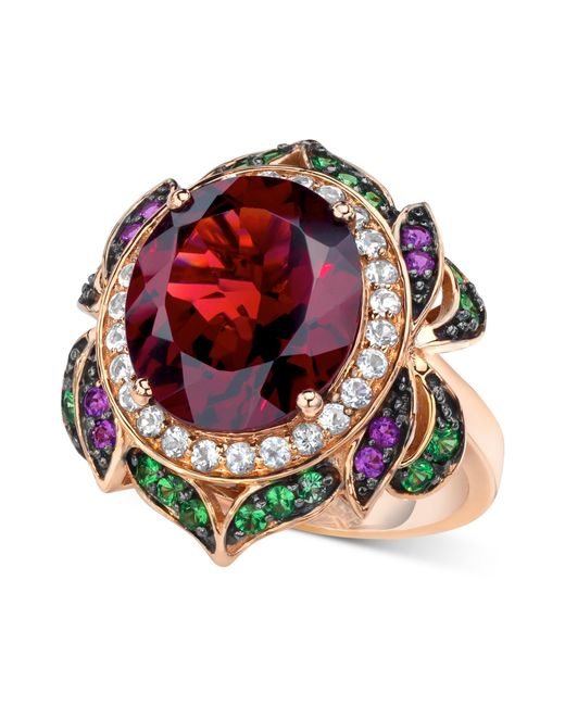 Le Vian | Pink Garnet (7-5/8 Ct. T.w.) And Multi-stone Round Flower Ring In 14k Rose Gold | Lyst