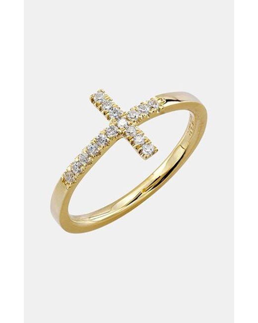 Bony Levy | Metallic Stackable Diamond Cross Ring | Lyst