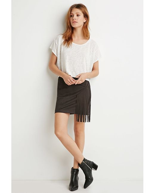 Forever 21   Black Contemporary Fringed Faux Suede Skirt   Lyst