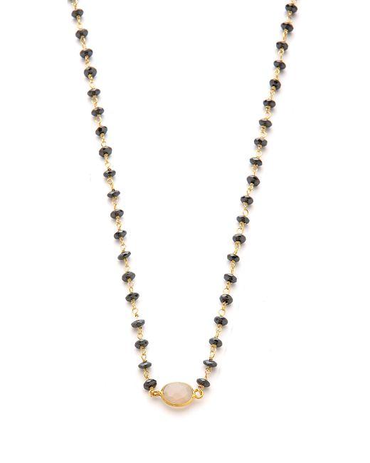 Ela Rae | Metallic Libi Necklace Hematitegrey Chalcedony | Lyst