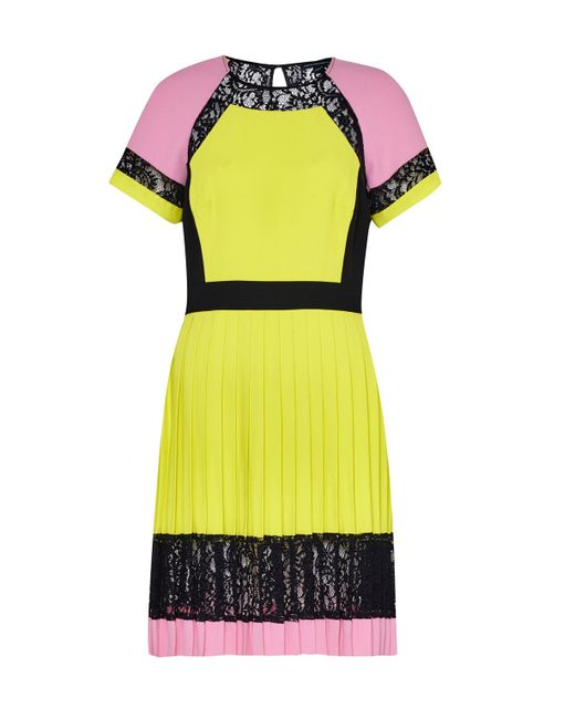 French Connection | Black French Connecton Arrow Lace Pleat Dress | Lyst