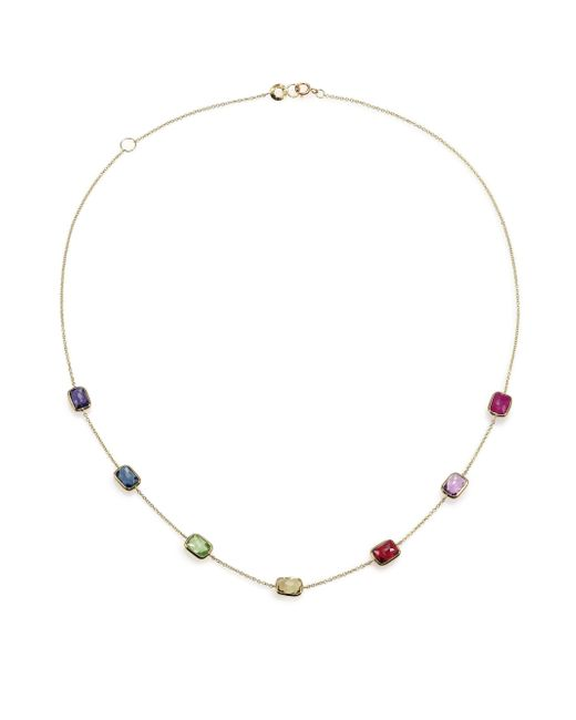 Ippolita | Metallic Rock Candy Fall Rainbow Semi-precious Multi-stone & 18k Yellow Gold Rectangle Station Necklace | Lyst