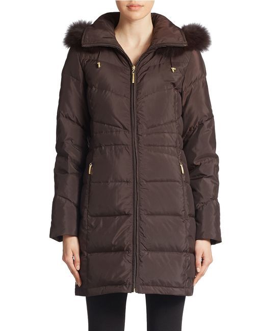 Ellen Tracy | Brown Plus Fox Fur-trimmed Puffer Coat | Lyst