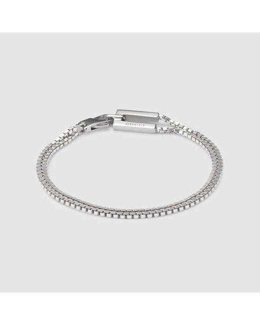 Gucci | Metallic Bracelet In Silver for Men | Lyst