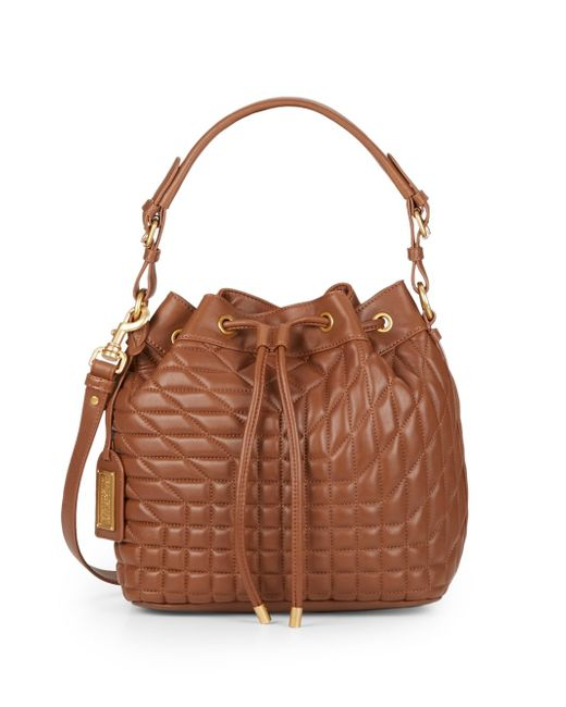 Badgley Mischka | Brown Clarissa Quilted Leather Bucket Bag | Lyst