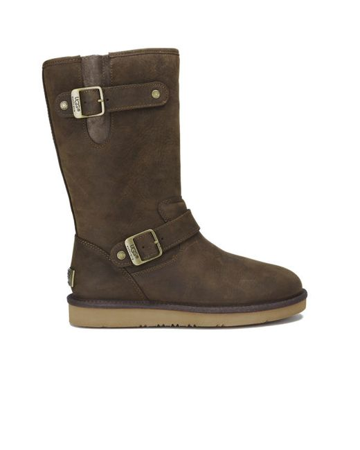 UGG | Brown Women's Sutter Waterproof Leather Buckle Boots | Lyst