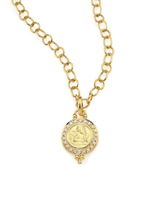 Temple St. Clair | Metallic Angels Pave Diamond & 18k Yellow Gold Pendant | Lyst