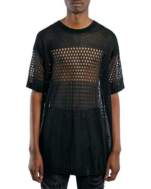 Topman Pointelle Mesh Oversized T Shirt In Black For Men