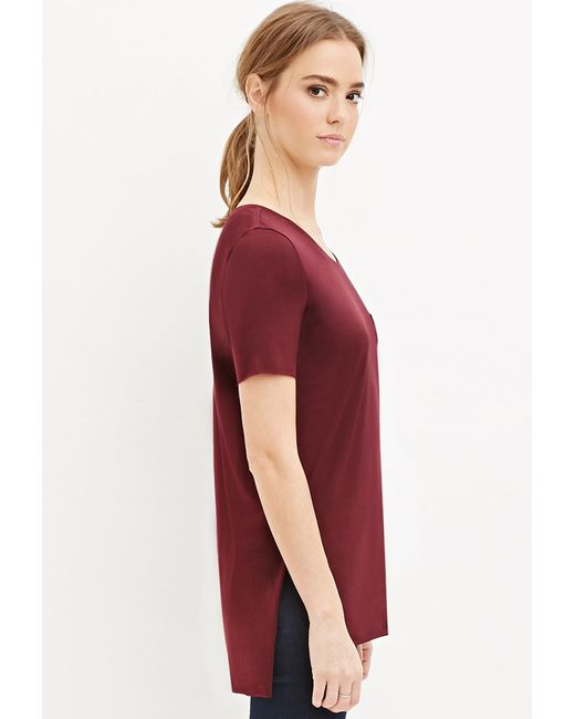 Forever 21 | Purple Raw Cut Side-slit Tee | Lyst