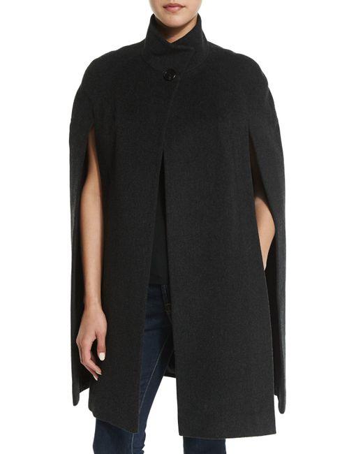 Fleurette   Black Stand Collar Wool Cape   Lyst