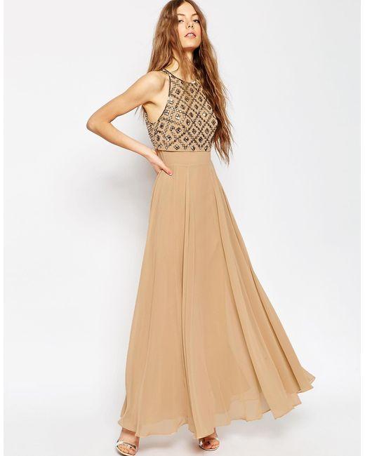 ASOSWomen's Brown Mirror Crop Top Maxi Dress