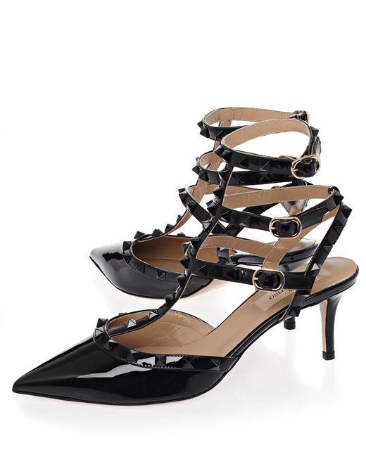 Valentino | Black 'rockstud' Sandals | Lyst