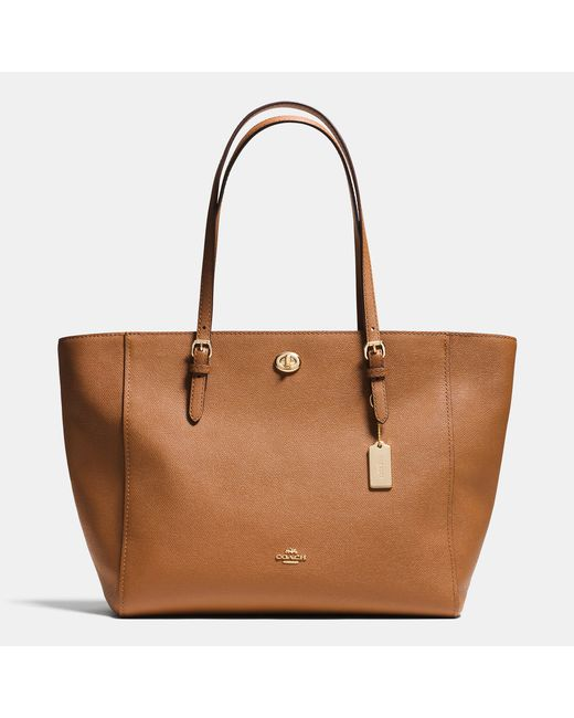COACH | Blue Turnlock Tote In Crossgrain Leather | Lyst