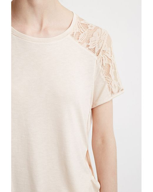 Forever 21 | Natural Contemporary Lace-paneled Tee | Lyst