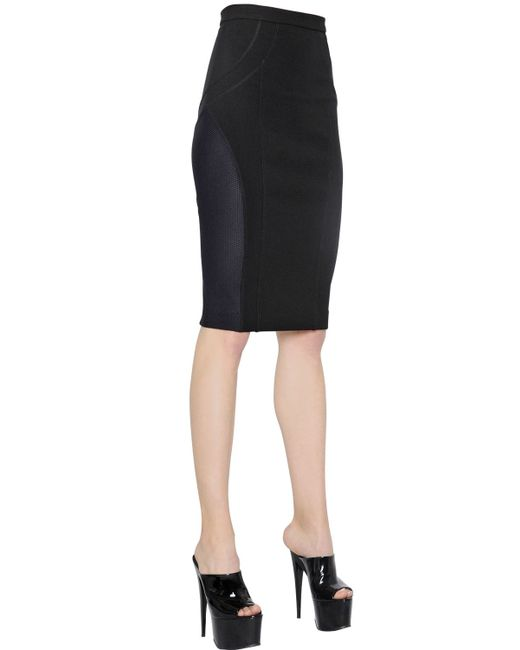 versace mesh stretch jersey pencil skirt in black lyst